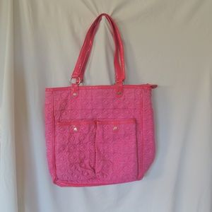 VERA BRADLEY Large Pink Quilted Satchel Shopper